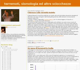 Il blog Terremoti, sismologia ed altre sciocchezze