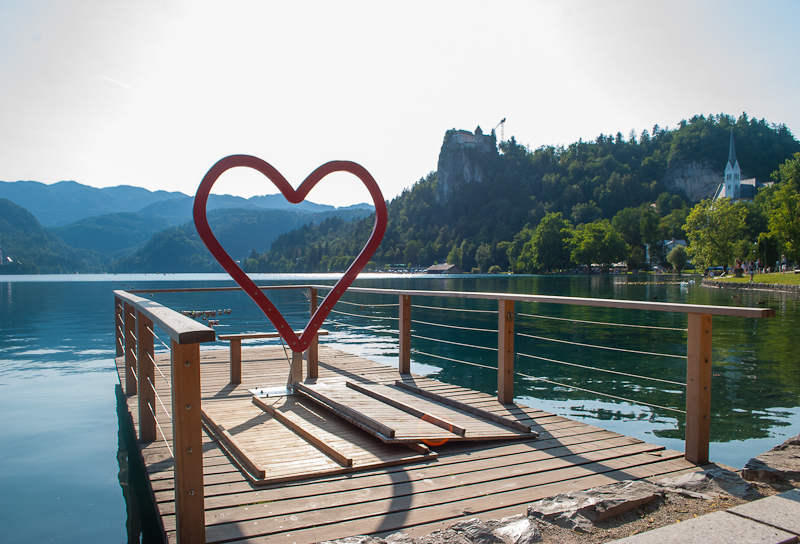 Heart shaped structure on lake bled slovenia