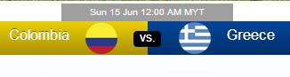 Colombia vs Greece