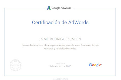 Certificado Google AdWords Vídeo Jaime Rodriguez-Jalón y Olea