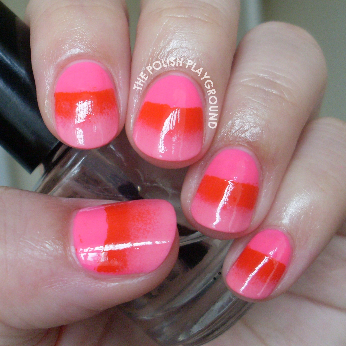 Pink Half Moon Gradient Nail Art