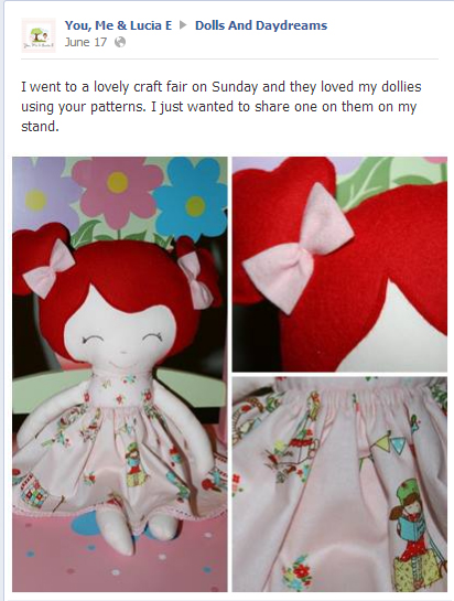 Dolls and daydreams doll sewing pattern happy customers for Sewing to sell at craft fairs
