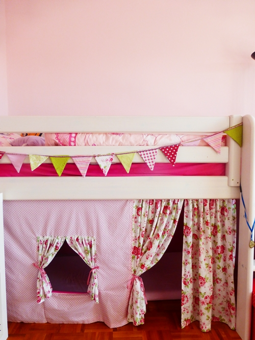 Kinder Hochbett Nähen Wimpelkette DIY Rosa Rot