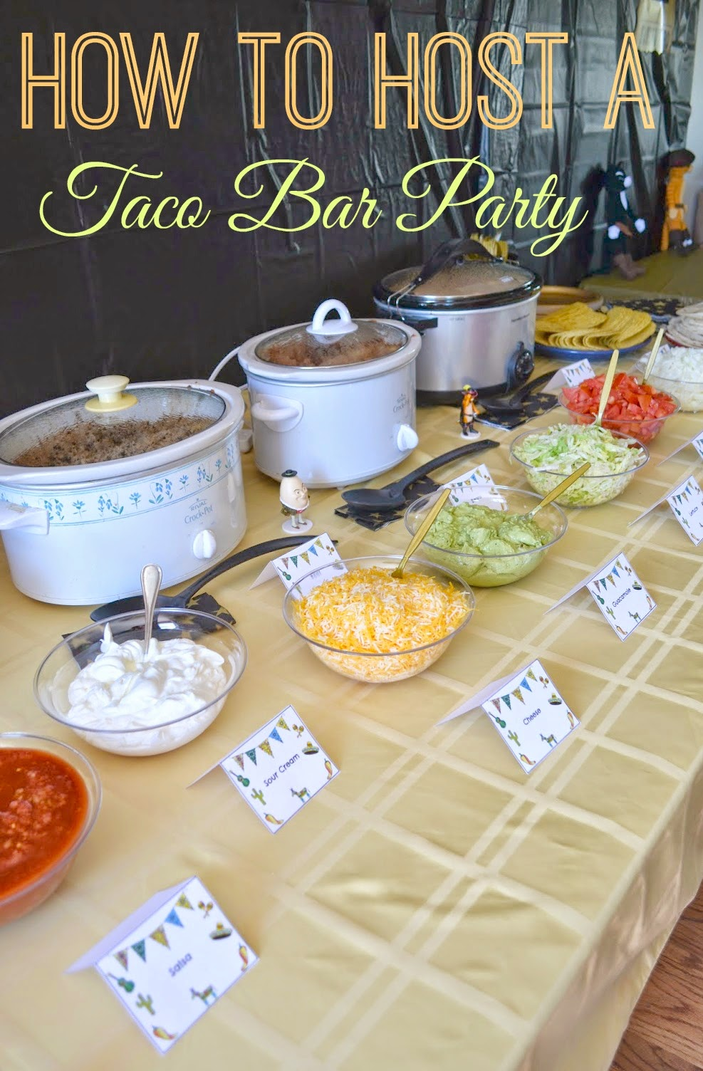 Diy taco bar party table tents free printables for International party decor