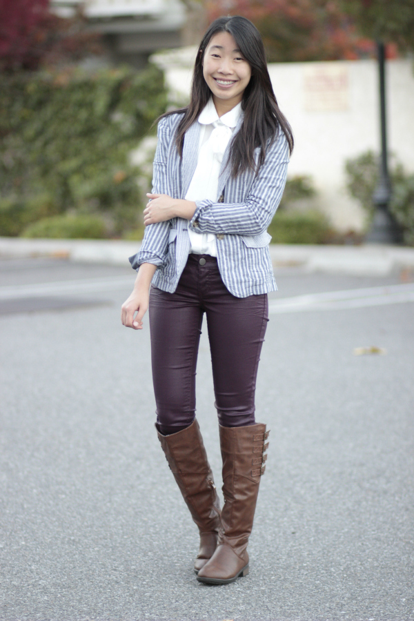 burgundy coated jeans riding boots blazer