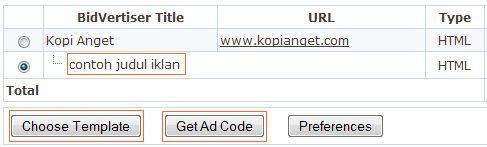 memasang 2 iklan bidvertiser