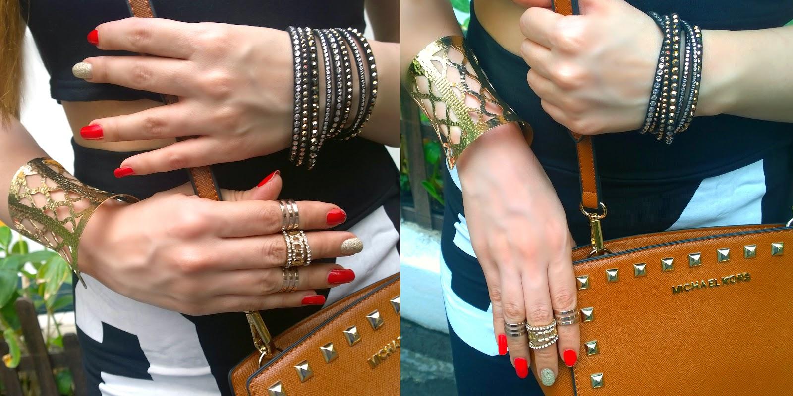 Swarovski Slake Bracelet, Midi-rings, Gold Cuff Bracelet
