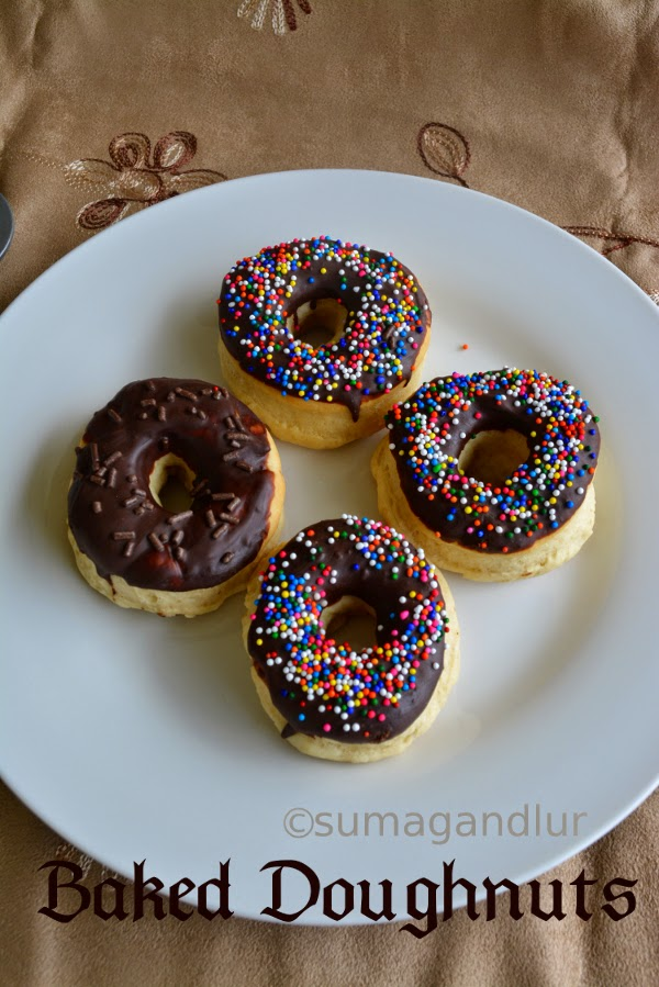 Fun Friday ~ Eggless Baked Doughnuts With Chocolate Glazing