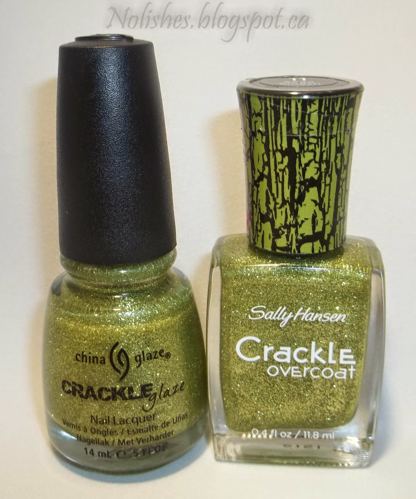 Picture of 2 bottles of nail polish: China Glaze Crackle Glaze in 'Jade-d', and Sally Hansen Crackle Overcoat in 'Sage Smash'