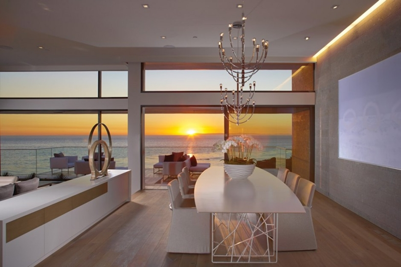 Dining room sunset in Romantic home above the ocean, California