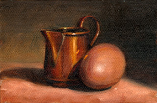 Oil painting of a small copper jug beside a brown hen's egg.