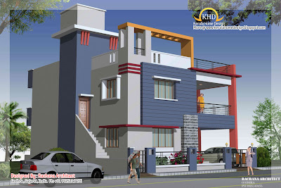 Duplex House Plan and Elevation view 2 - 218 Sq M (2349 Sq. Ft.)