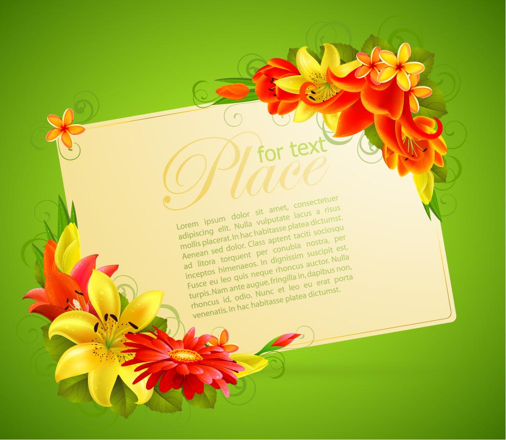 花ビラのコーナー飾りをしたグリーティングカード flower greeting cards イラスト素材