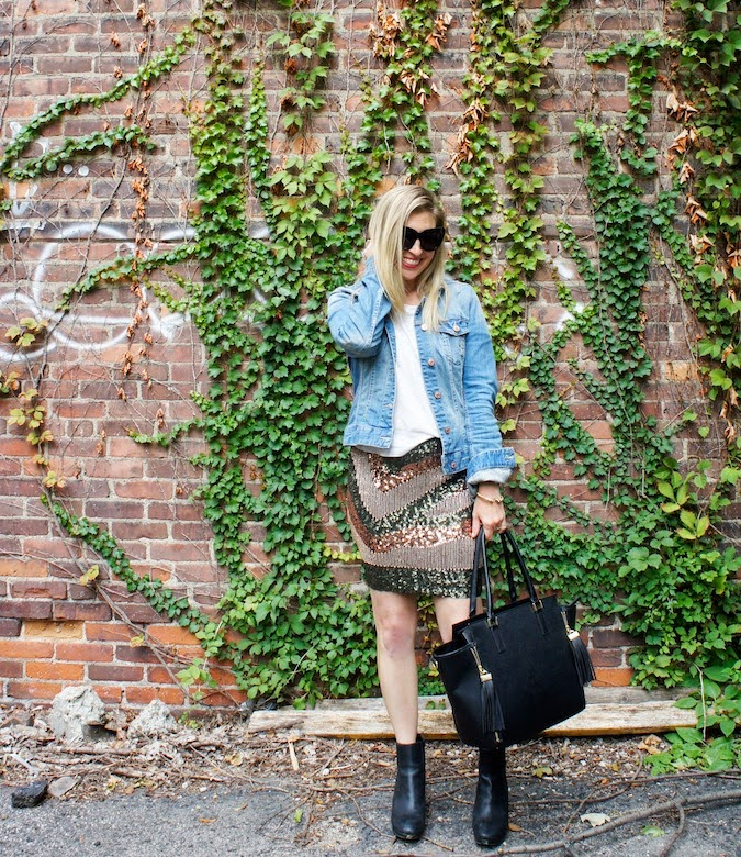H&M sequin skirt, H&M denim jacket