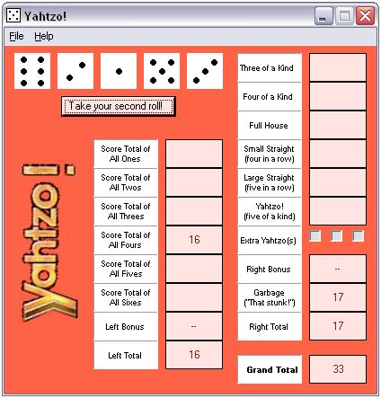 Yahtzo! - Freeware Dice Game Screenshot