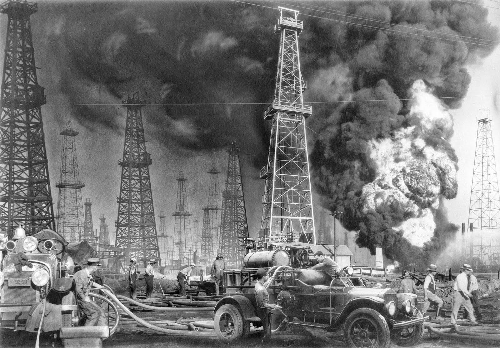 Pozo petrolífero en llamas, 1931