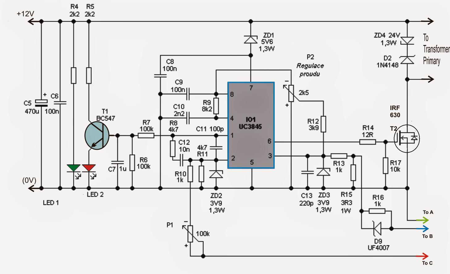 adjustable 0-100v 50 amp smps circuit diagram