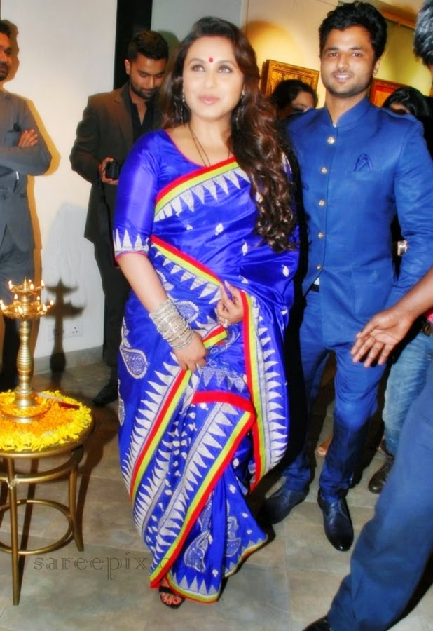 Rani-mukherjee-blue-silk-saree