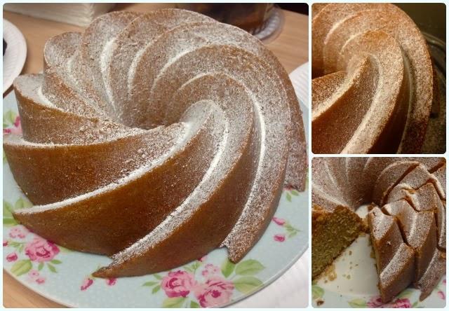 Rhubarb, Apple and Ginger Bundt Cake