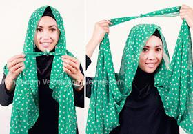 cara memakai hijab pashmina praktis 2