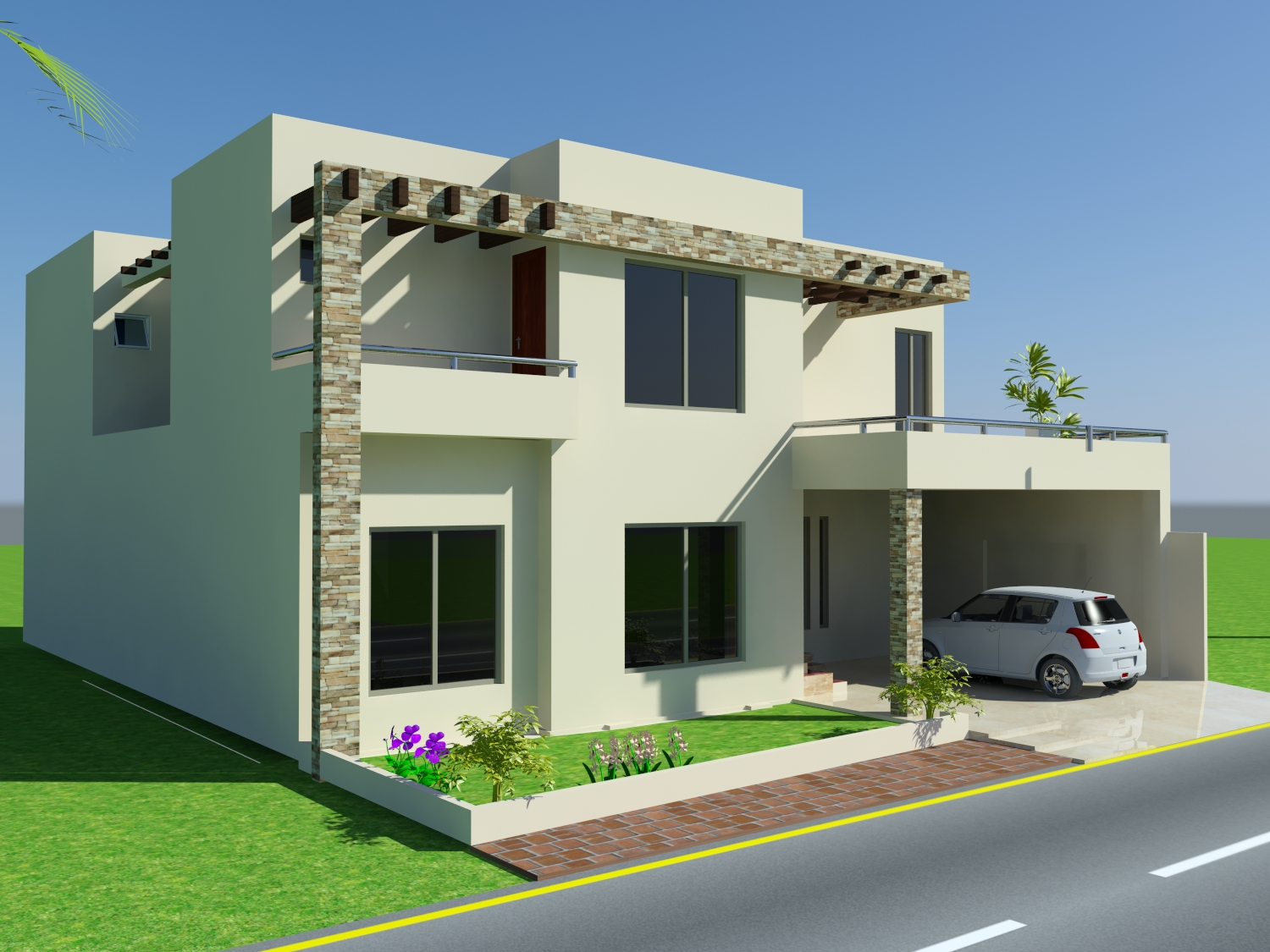 3d front 10 marla house design mian wali for Home design front side