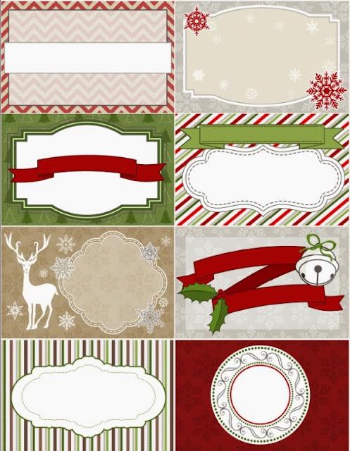 Elegantes etiquetas para Navidad, para Imprimir Gratis.