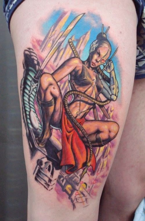 Futuristic Ninja Girl Tattoo