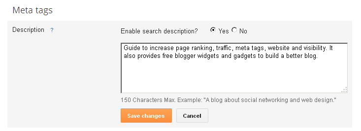 add Meta Description Tags in Blogger