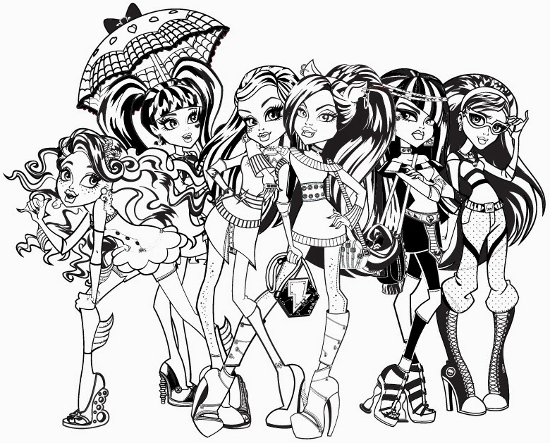 Free printable coloring pages for girls for Print monster high coloring pages