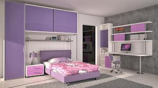 habitación niña lila rosa