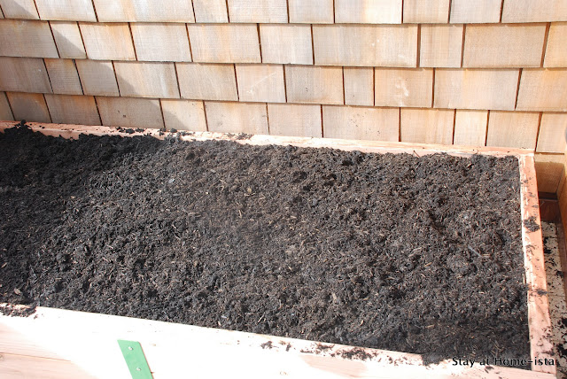 dirt in a raised bed patio garden