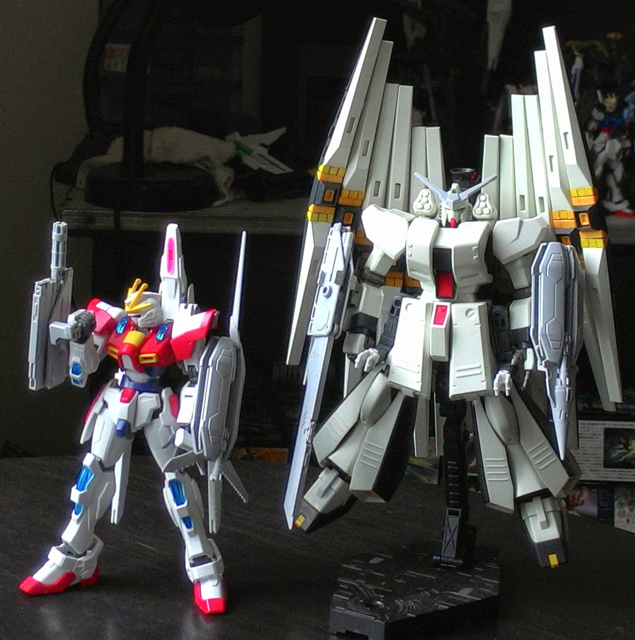 Burning Gundam and HWS Nu Gundam, with Lev Parts and other add-ons