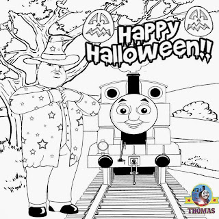 Thomas and his friends worksheets Trick or treat coloring book pages for children to print and color