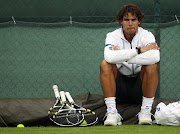 Spanish player Rafael Nadal is pictured during a training at the Wimbledon .