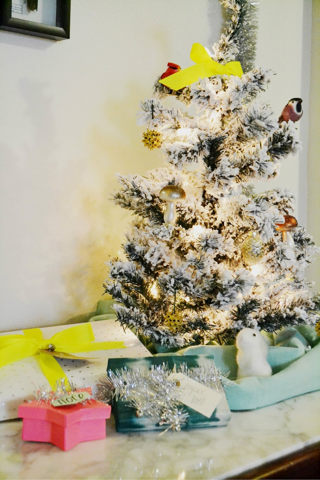 small christmas tree, neon, woodland, christmas decorations, gift wrap, silver, birds