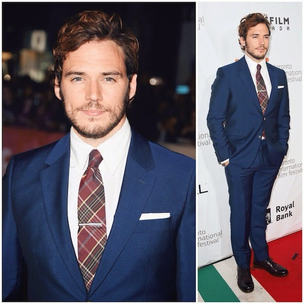 Sam Claflin wears Alexander McQueen blue suit at 2014 Toronto international Film Festival TIFF14