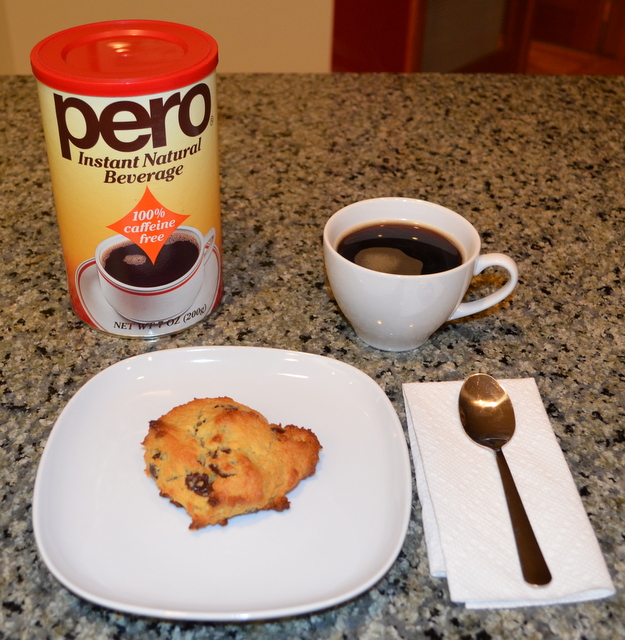 Chocolate chip scone using almond flour and Pero coffee substitute