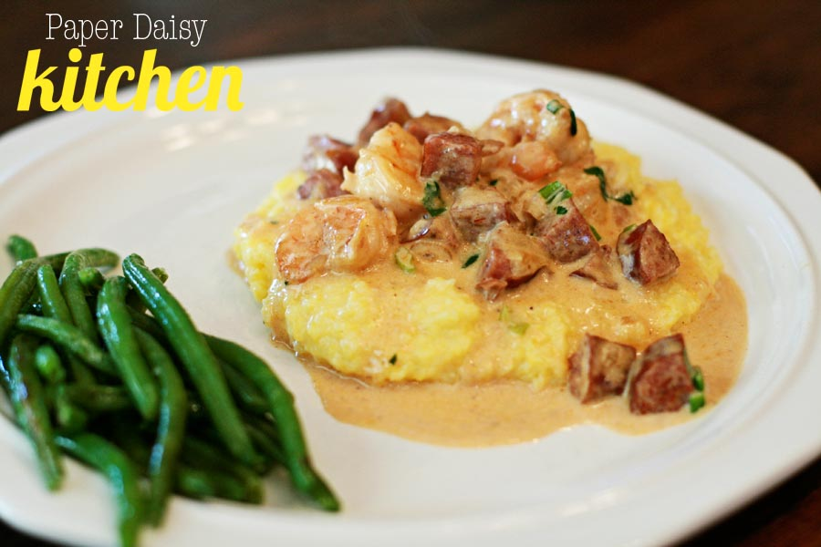 PaperDaisyKitchen: Creamy Shrimp and Cheese Grits with Spicy Andouille