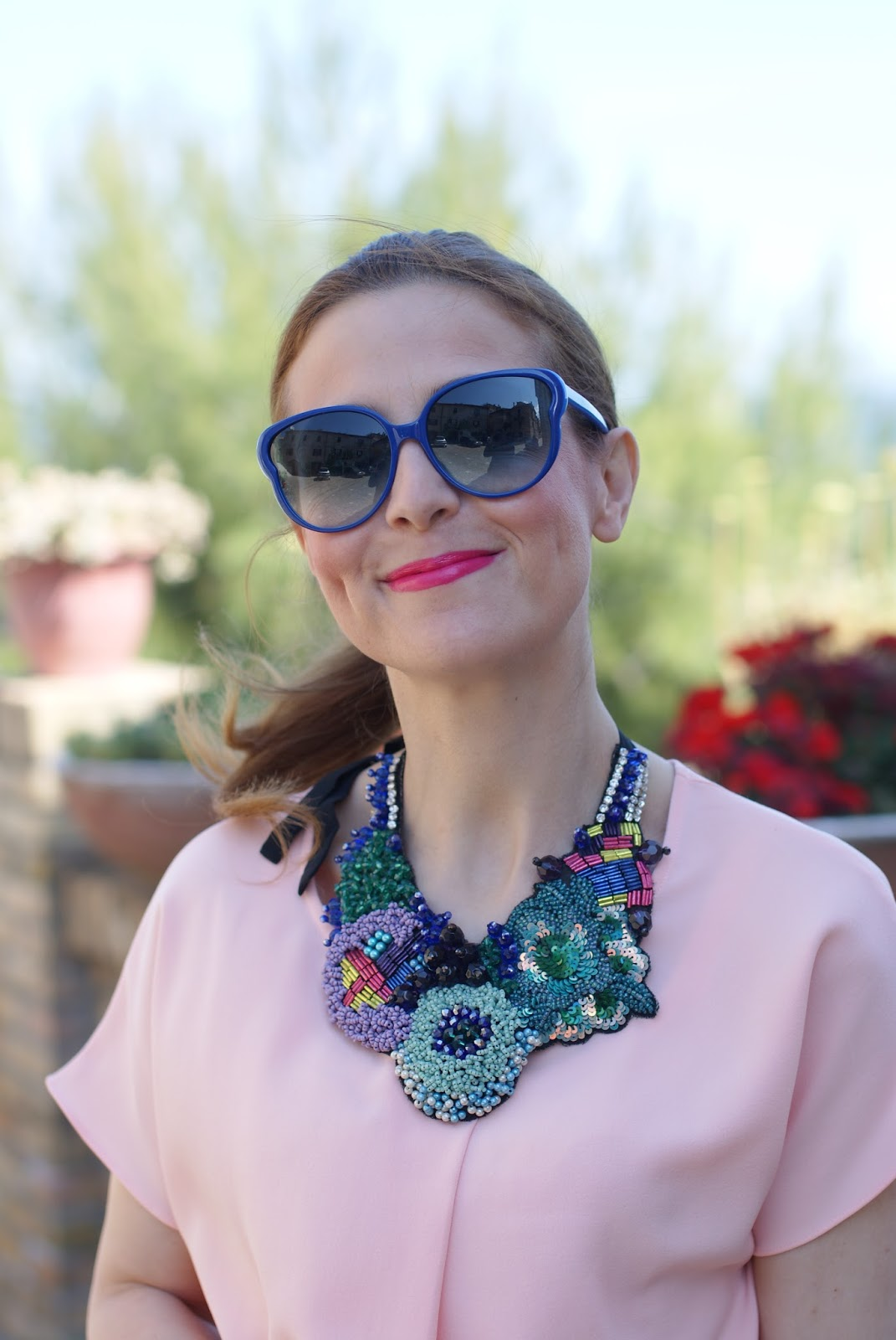 Marc by Marc Jacobs sunglasses, SimonaB Bijoux statement necklace, Fashion and Cookies fashion blog