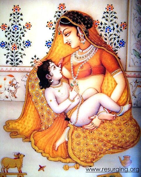 Krishna sucking milk from the breasts of Yasoda