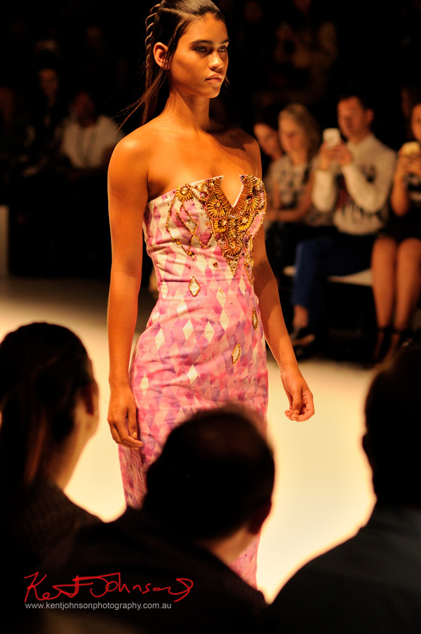 Geometric diamond print dress beaded bust, ANY STEP by Amy Le and Stephanie McGuigan - MBFWA - Photographed by Kent Johnson.