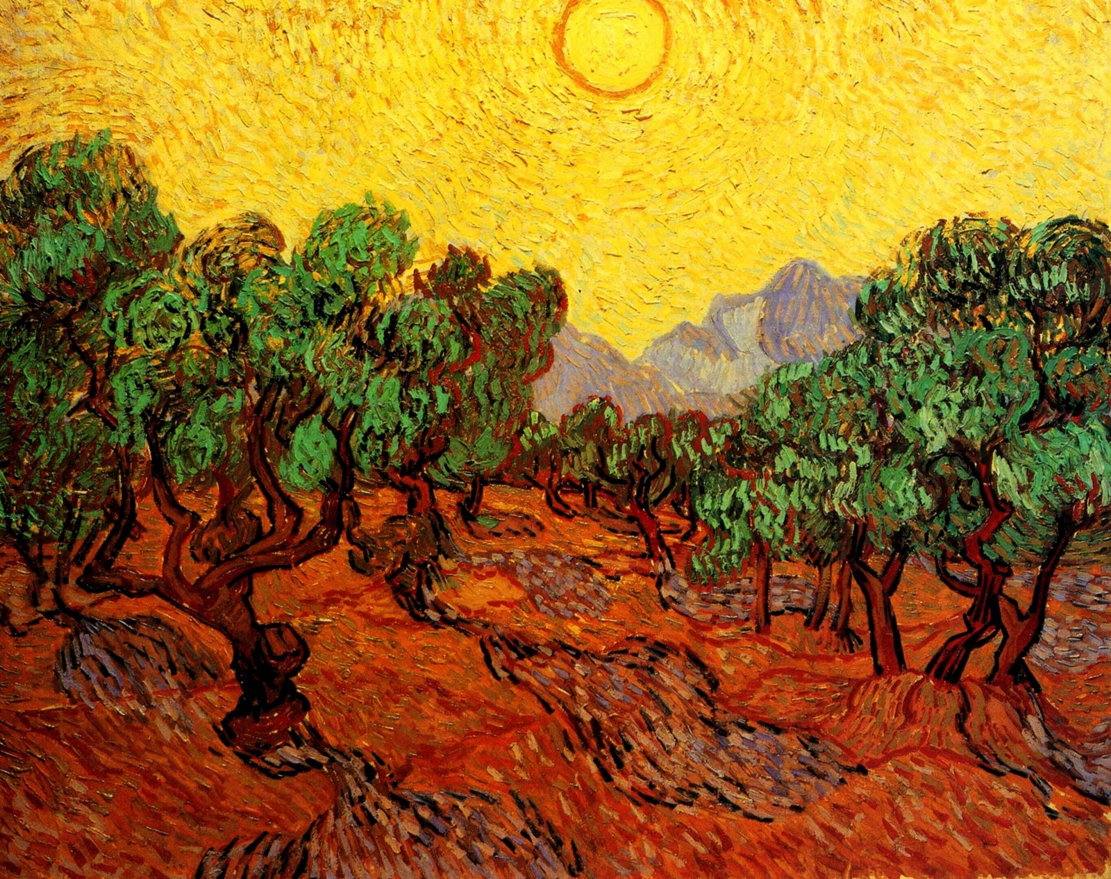 Olive trees with yellow sky and sun, van gogh
