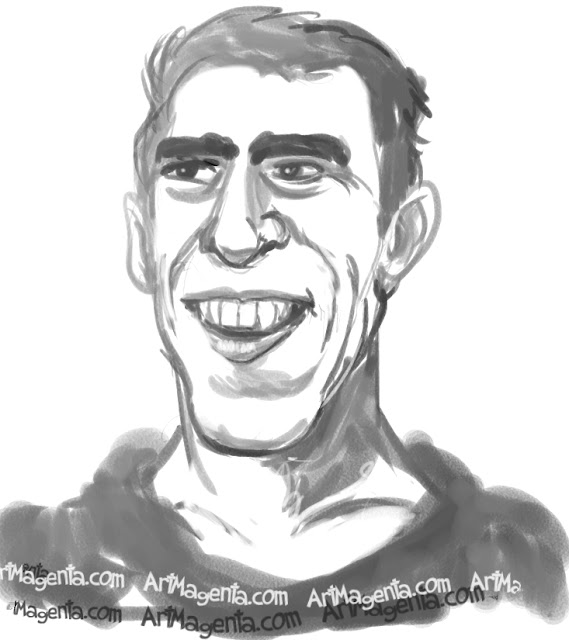 Michael Phelps caricature cartoon. Portrait drawing by caricaturist Artmagenta