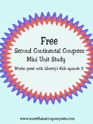 Over the last few weeks in co-op we have used Liberty's Kids to study The Boston Tea Party, The Intolerable Acts, The First Continental Congress, and The Green Mountain Boys. This week we are continuing with our series focusing on Second Continental Congress. I have put together a free printable pack for you to use as you study this section.