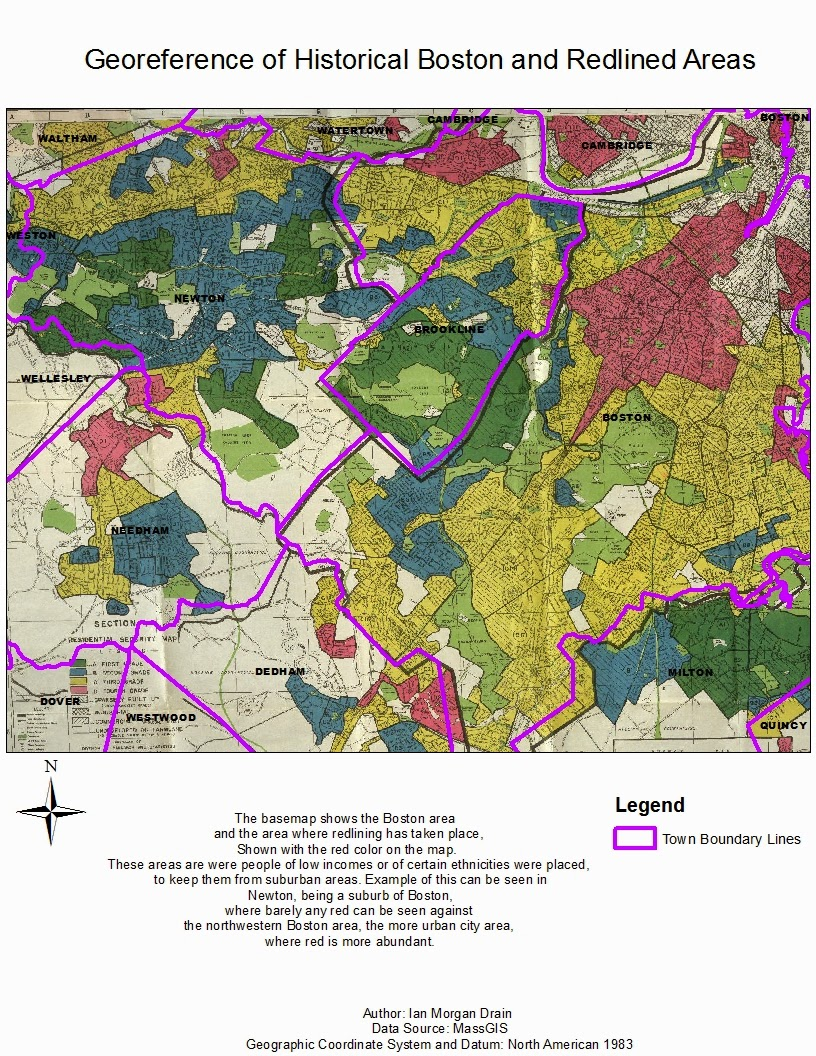 for this map displayed the use of a technique called georeferencing was used the basemap shows historical boston shown with the bolded purple color are