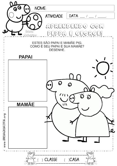 Atividade Identidade Família Peppa Pig
