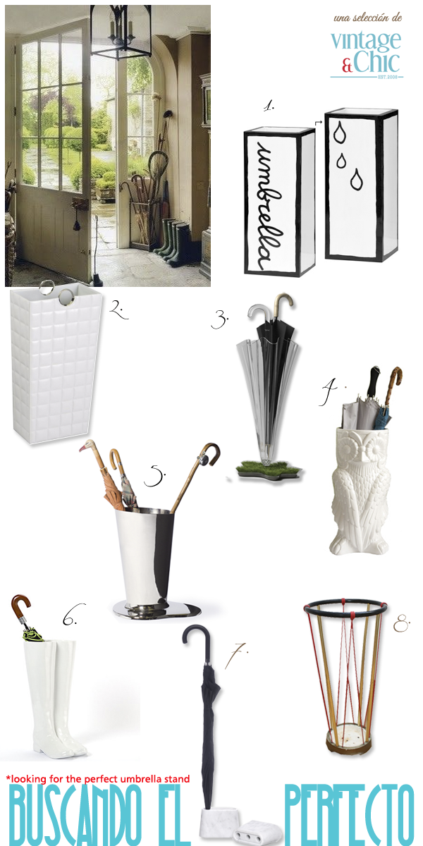 Buscando el paragüero perfecto · Looking for the perfect umbrella stand