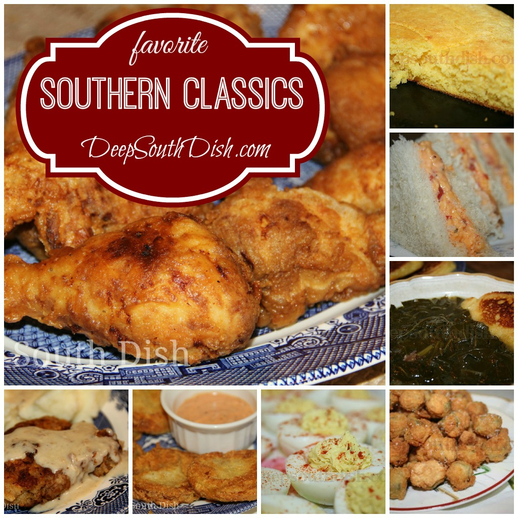 Deep south dish southern favorites and classic southern recipes fried chicken skillet cornbread pimento cheese collard greens and hoecakes chicken fried steak fried green tomatoes deviled eggs fried okra and much forumfinder Images