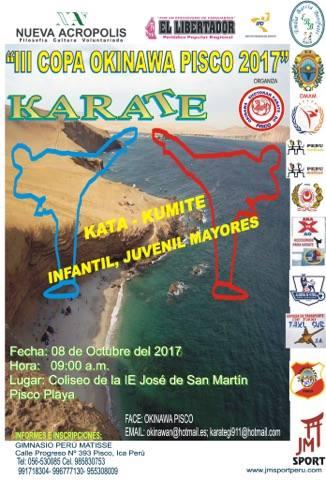 "CAMPEONATO DE KARATE  ""III Copa Okinawa Pisco 2017  Pisco-Perù"