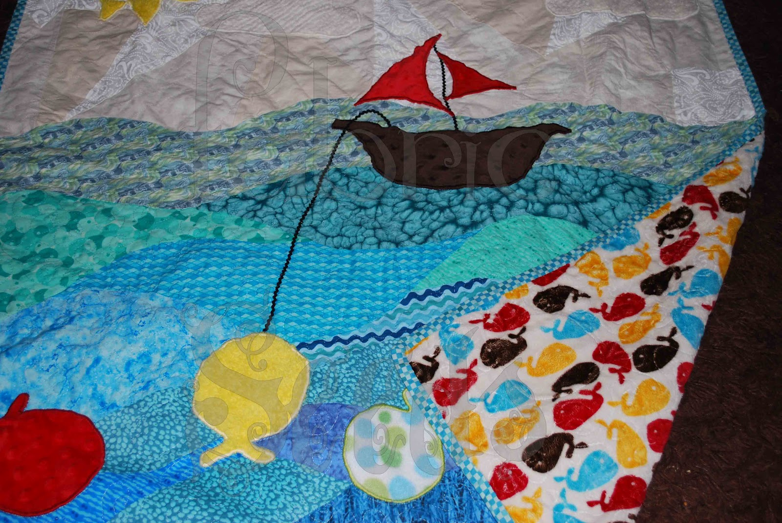 Fabric seeds fishing quilt for Fish fabric for quilting